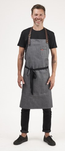 Grey denim apron with leather. bartenders, chef and waiters.