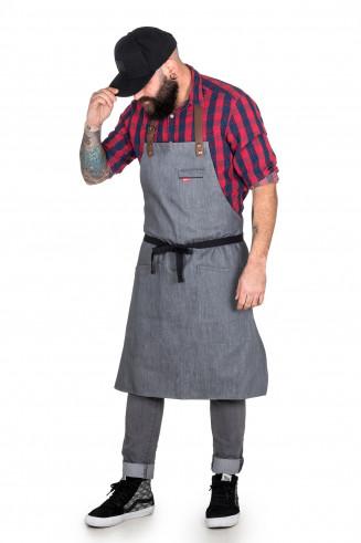 Tablier en jean, pur denim et cuir pour cuisinier et serveurs, bartenders, hôtellerie.