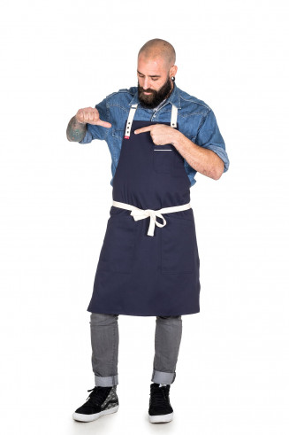 Stylish dark blue apron for restaurant and hotels