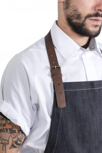 Tablier en jean et cuir- homme-restaurant