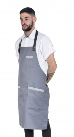 ASH apron w/leather _GREY