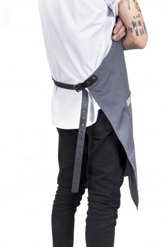 ASH apron w/leather _GREY