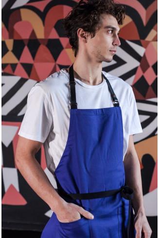 Tablier de cuisine à bavette bleu