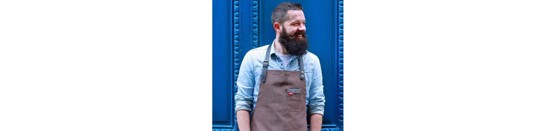 Tablier professionnel avec lanière cuir, personnalisable et stylé