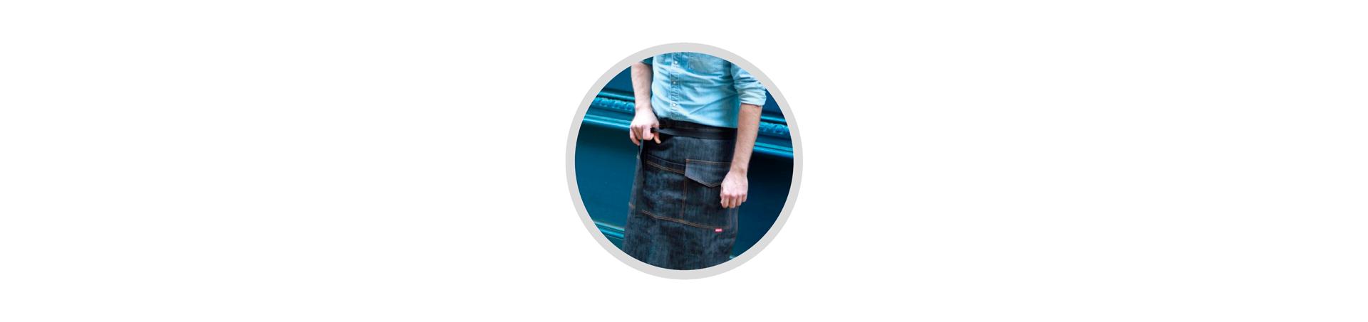 Tabliers en jean court pour serveurs et restaurants- Qualité -Personnalisable